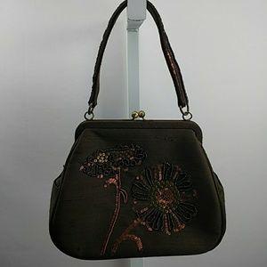 Talbots Chocolate Brown Embellished Bag Sequins